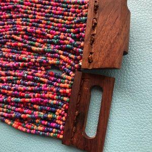 Monies Jewelry - Jewel toned Artisan Multi Strand Beaded necklace